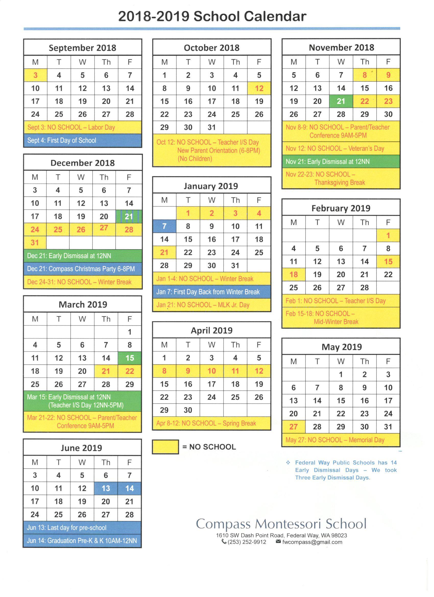 2018 2019 School Calendar Compass Montessori School Of Federal Way