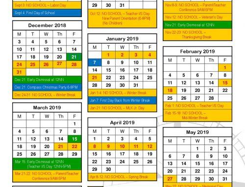 2018-2019 School-year Calendar