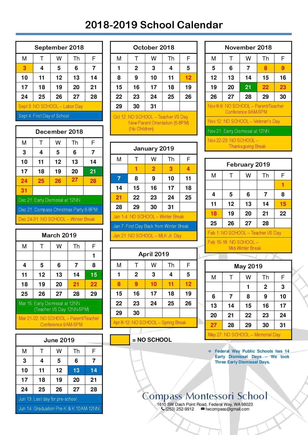 2018 2019 school year calendar view larger image