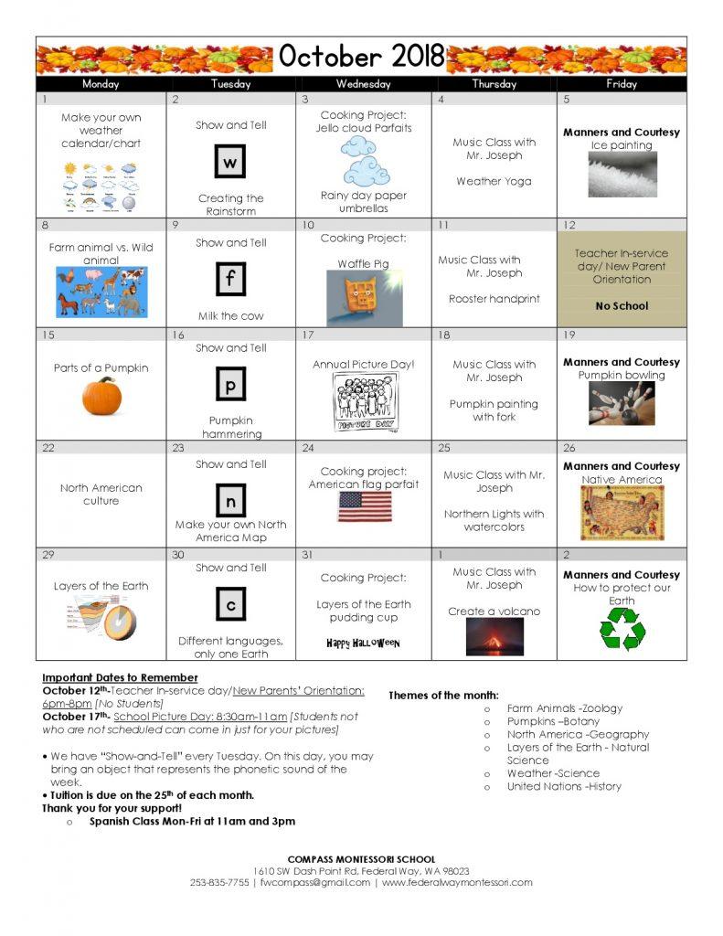 October 2018 Montessori School Calendar