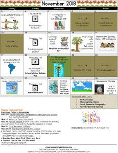Compass Montessori School 2018 November Calendar – Federal Way, WA