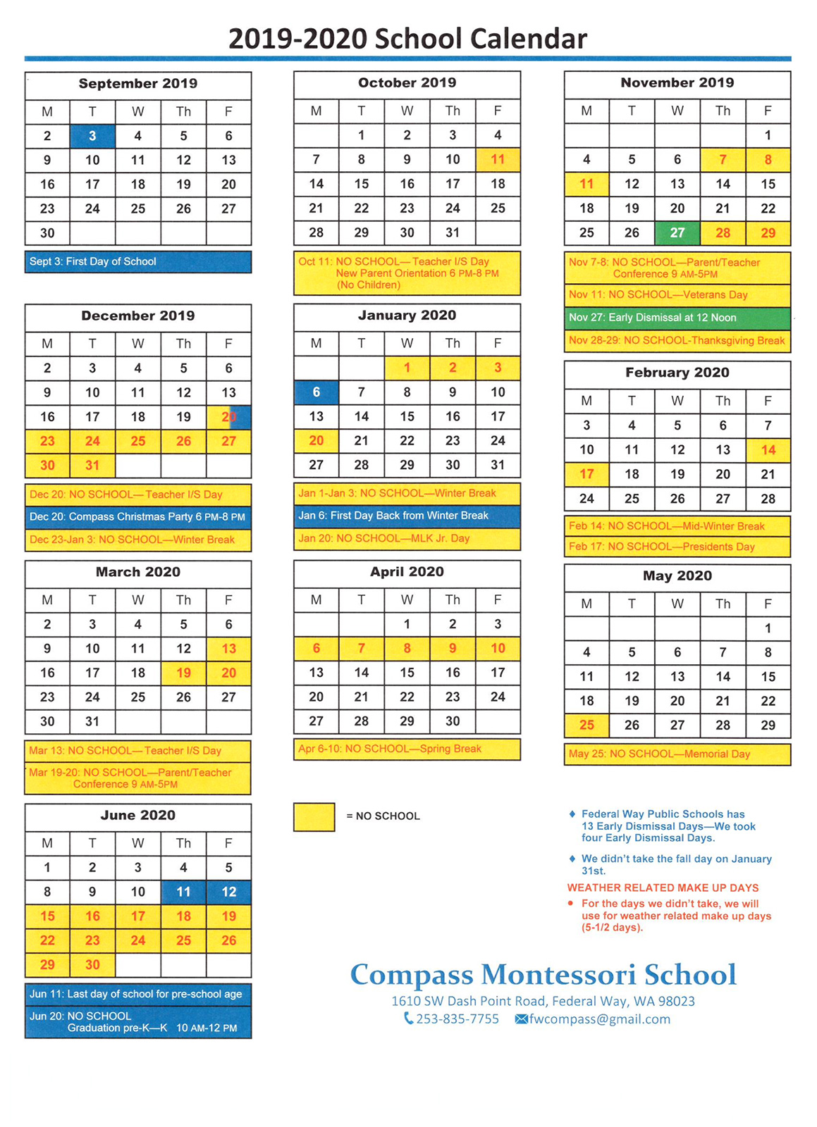 Calendar 2020 Wa 2019 2020 School Year Calendar | Compass Montessori School of