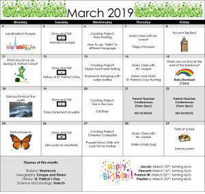 March 2019 Compass Montessori School of Federal Way Calendar