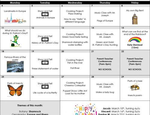 March 2019 School Calendar